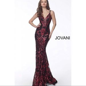 Jovani Dresses - JOVANI 63350 Plunging Neck Fitted Embellished Gown